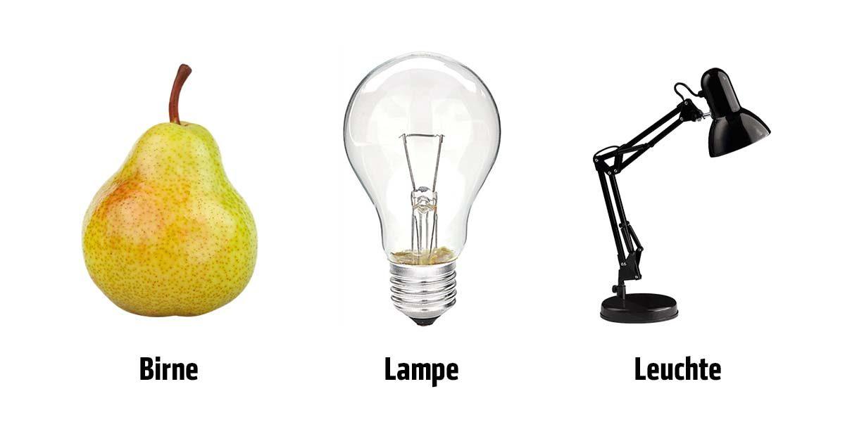 Unterschied Lampe, Leuchte, Leuchtmittel