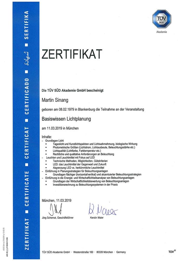 Zertifikat Basiswissen Lichtplanung TÜV zertifiziert