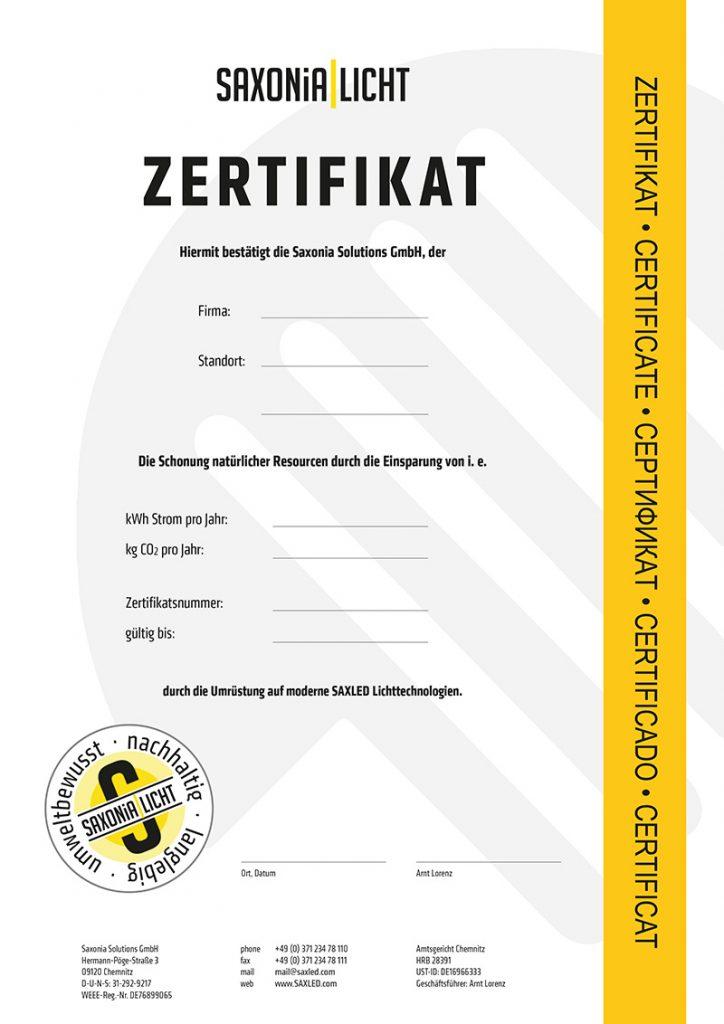 Zertifikat Saxonia Licht