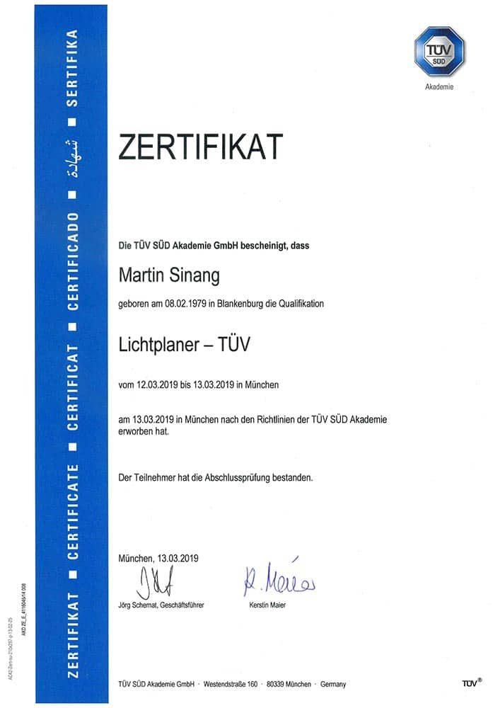Zertifikat Lichtplaner TÜV zertifiziert